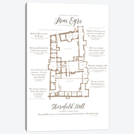 Jane Eyre By Charlotte Bronte Infographic Canvas Print #BIB31} by Bibliotography Canvas Art