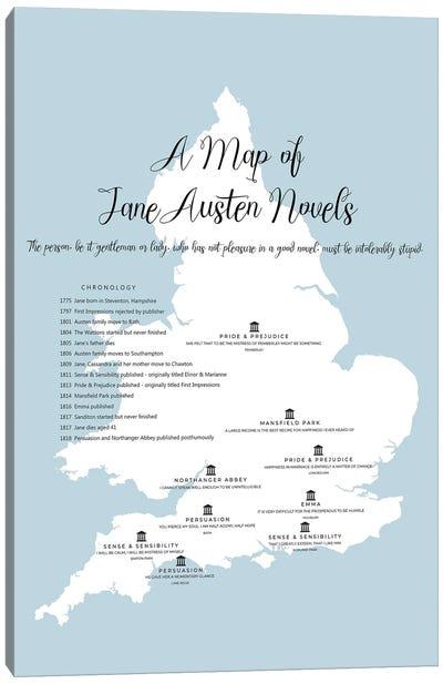 Map Of Jane Austen Novels Canvas Art Print