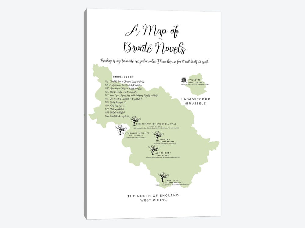 A Map Of Bronte Novels by Bibliotography 1-piece Canvas Print