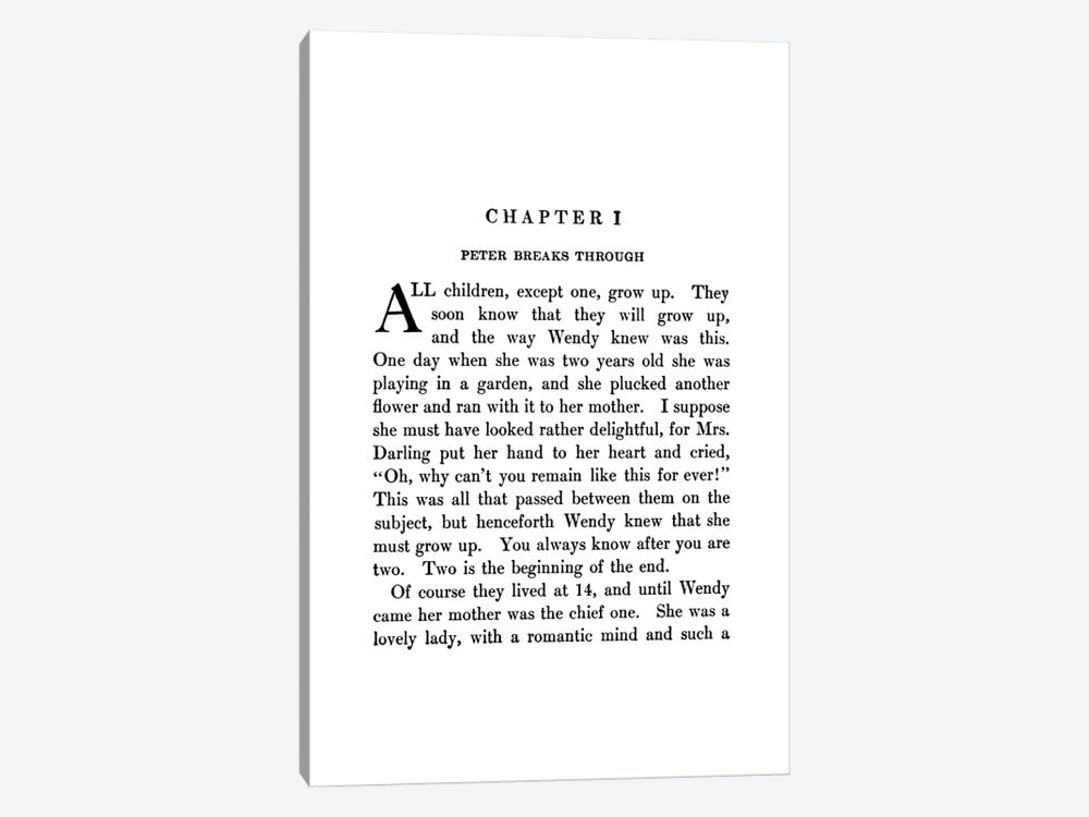 Peter And Wendy By J M Barrie Book Page by Bibliotography 1-piece Canvas Art