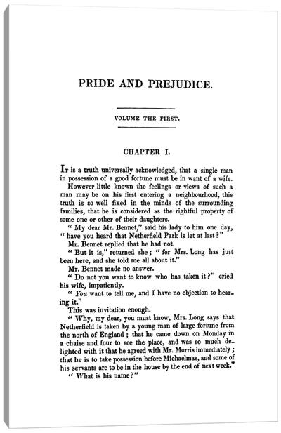 Pride And Prejudice By Jane Austen Book Page Canvas Art Print