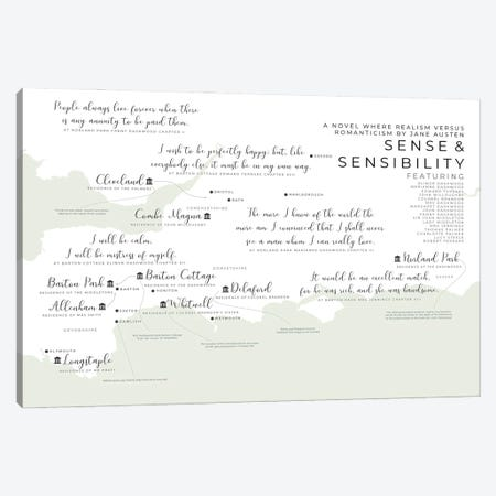 Sense And Sensibility Infographic Canvas Print #BIB43} by Bibliotography Art Print