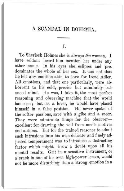 A Scandal In Bohemia Sherlock Holmes Book Page Canvas Art Print