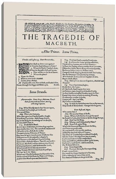 Macbeth First Folio Page In Almond Canvas Art Print