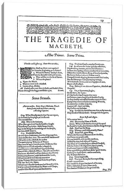 Macbeth First Folio Page In White Canvas Art Print