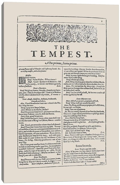 The Tempest First Folio In Almond Canvas Art Print