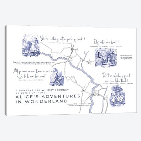 Alice's Adventures In Wonderland Infographic Landscape Canvas Print #BIB5} by Bibliotography Canvas Wall Art
