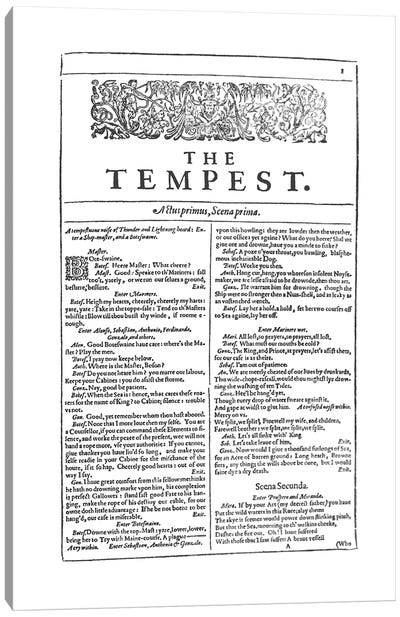 The Tempest First Folio In White Canvas Art Print