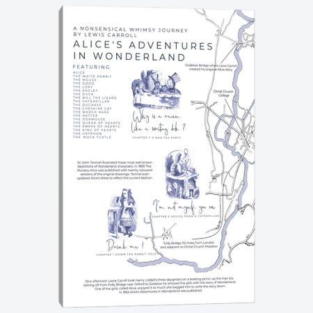 Alice's Adventures In Wonderland Infographic Portrait Canvas Print #BIB6} by Bibliotography Canvas Wall Art
