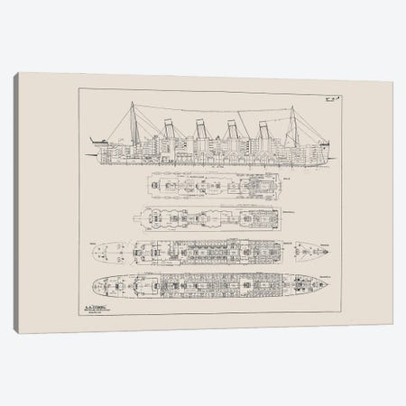 Titanic Blueprint Canvas Print #BIB7} by Bibliotography Canvas Art