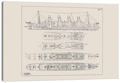 Titanic Blueprint Canvas Art Print