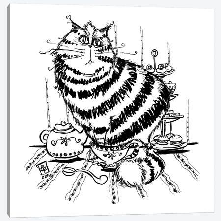 Tea Cat Canvas Print #BIF52} by Billi French Canvas Artwork