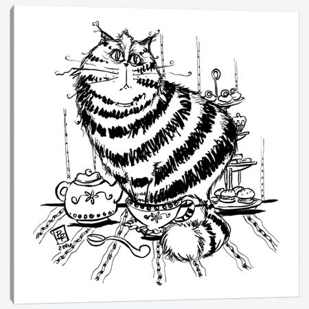 Tea Cat Canvas Print #BIF52} by Billi French Canvas Artwork
