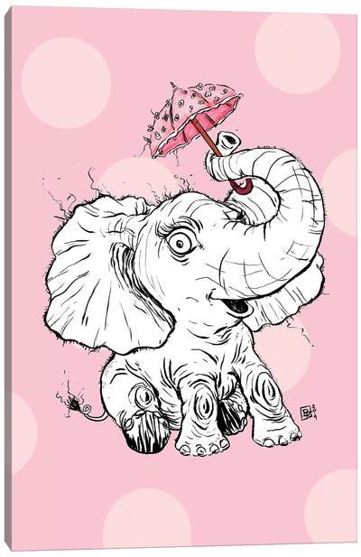 Adorable Fuzzy Elephant With A Precious Parasol Canvas Art Print