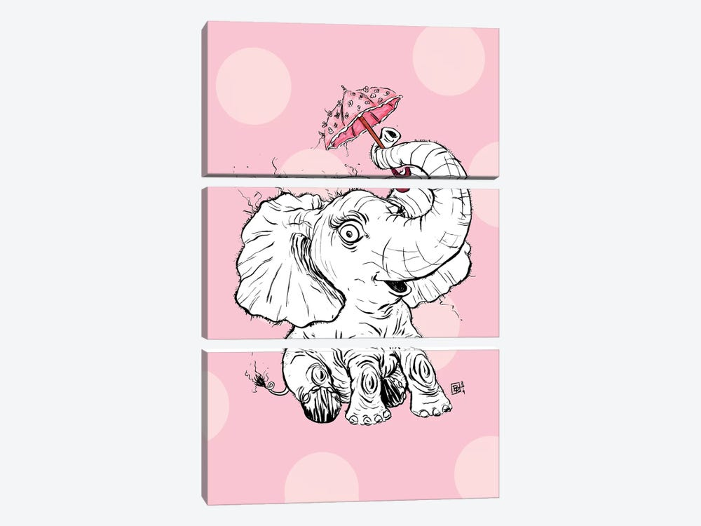 Adorable Fuzzy Elephant With A Precious Parasol by Billi French 3-piece Canvas Print