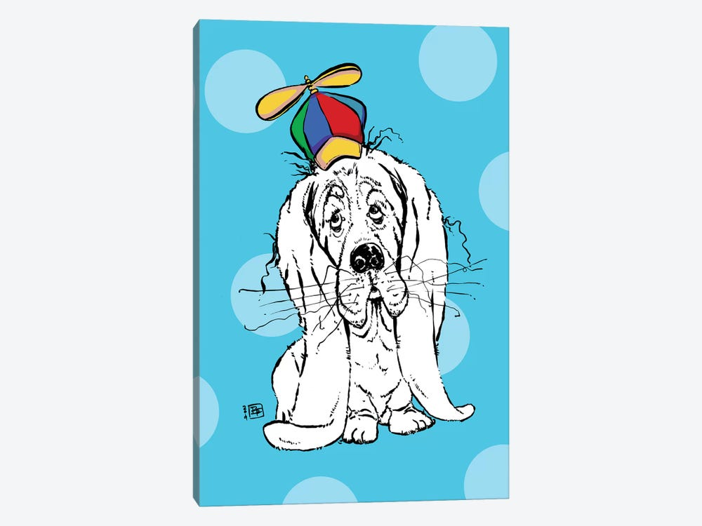 Cute Droopy Basset Hound With A Spinner Hat by Billi French 1-piece Canvas Artwork