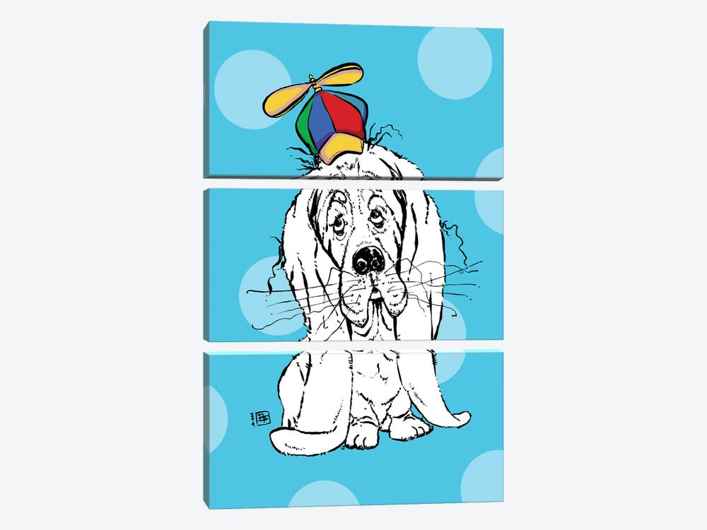 Cute Droopy Basset Hound With A Spinner Hat by Billi French 3-piece Canvas Art