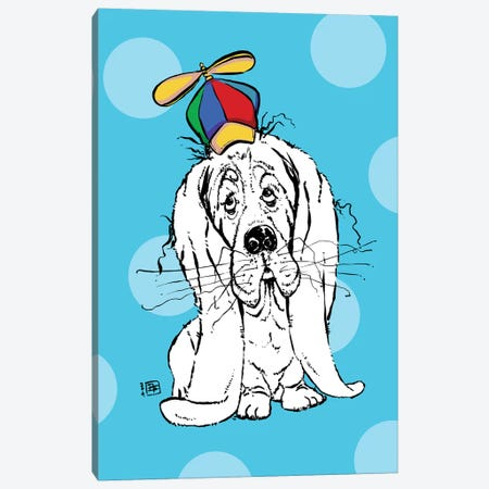 Cute Droopy Basset Hound With A Spinner Hat Canvas Print #BIF72} by Billi French Canvas Wall Art