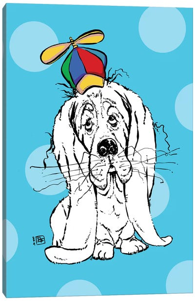 Cute Droopy Basset Hound With A Spinner Hat Canvas Art Print