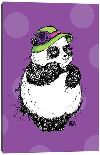 Bashful Little Lady Panda With A Gorgeous Hat Canvas Art Print