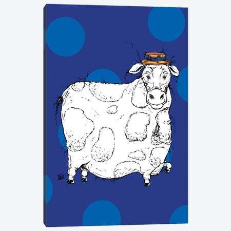 Adorable Large Cow With A Precious Barber Shop Hat Canvas Print #BIF76} by Billi French Canvas Art Print
