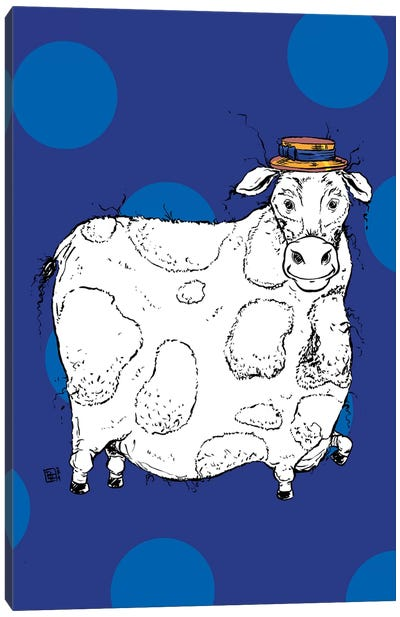 Adorable Large Cow With A Precious Barber Shop Hat Canvas Art Print