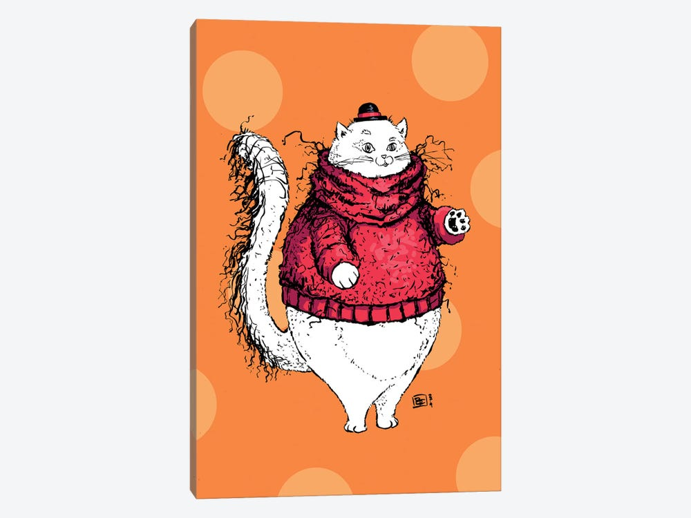 A Gentleman Cat With A Very Fuzzy Sweater And Lovely Hat by Billi French 1-piece Canvas Artwork