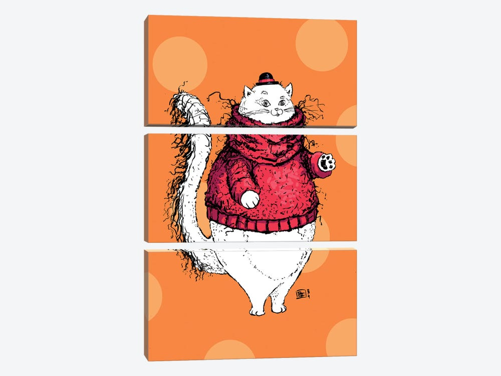 A Gentleman Cat With A Very Fuzzy Sweater And Lovely Hat by Billi French 3-piece Canvas Wall Art