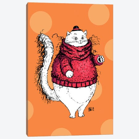 A Gentleman Cat With A Very Fuzzy Sweater And Lovely Hat Canvas Print #BIF78} by Billi French Canvas Wall Art