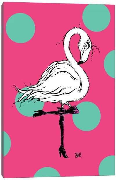 A Cute Little Flamingo In Chic Knee-High Boots Canvas Art Print