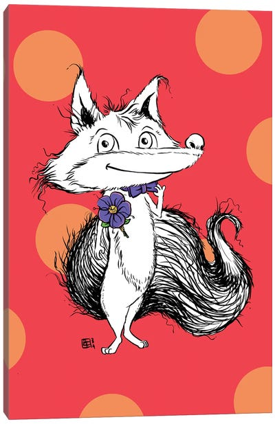 A Dapper Little Fox With A Fancy Bow Tie And Boutonniere Canvas Art Print