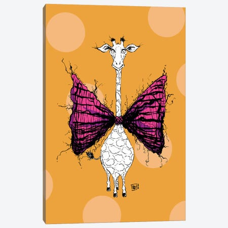 A Lovely Giraffe With A Very Fuzzy Cute Bow Tie Canvas Print #BIF82} by Billi French Canvas Print