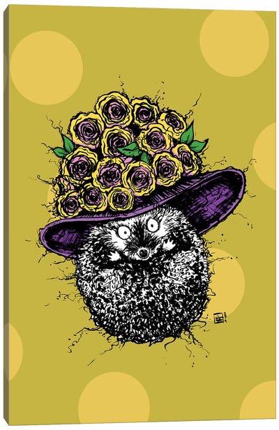 A Cute Little Hedgehog With A Cute Little Sun Hat Canvas Art Print