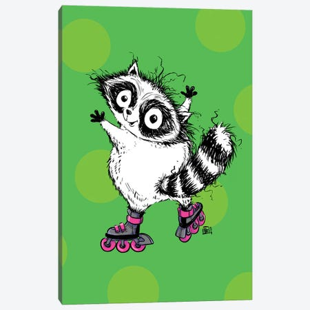 A Cute Little Raccoon On Some Sweet Blades 3-Piece Canvas #BIF85} by Billi French Canvas Art