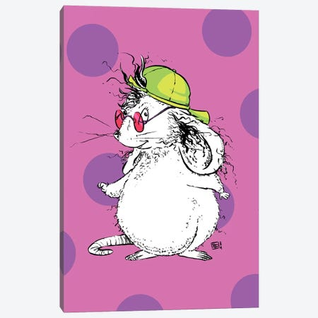 Rad Little Mouse with a Super Cool Neon Cap Canvas Print #BIF87} by Billi French Canvas Art