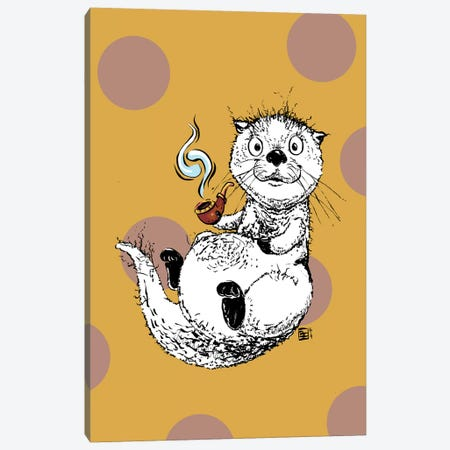 Cute Little Otter Relaxing with an Old Man Pipe Canvas Print #BIF88} by Billi French Canvas Art Print
