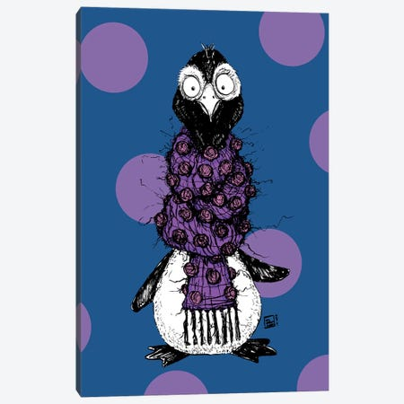 Adorable Penguin with a Very Fuzzy Itchy Scarf Canvas Print #BIF90} by Billi French Canvas Art