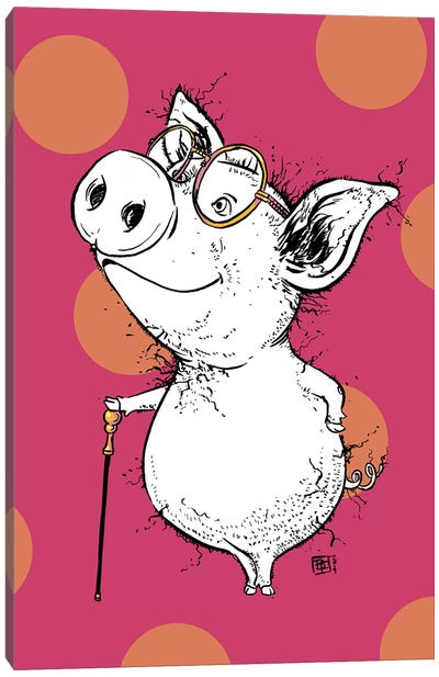 Dapper Little Piggy with Very Smart Glasses Canvas Art Print