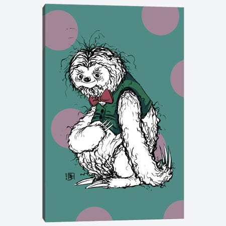 Silly Sloth with a Nice Tuxedo Vest and Bow Tie Canvas Print #BIF92} by Billi French Canvas Art