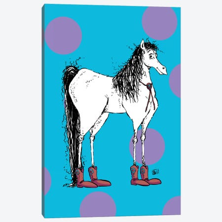 A Cute Tall Horse With A Bolo Tie And Cowboy Boots Canvas Print #BIF94} by Billi French Art Print