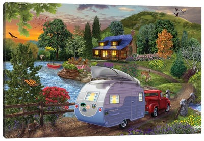Campers Coming Home Canvas Art Print