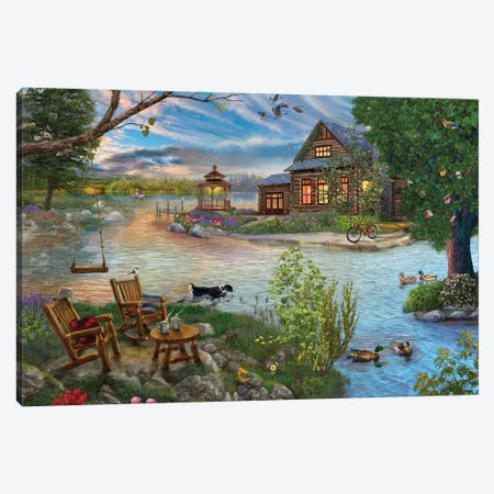 Coffee on the Lakeshore Canvas Print #BII11} by Bigelow Illustrations Art Print