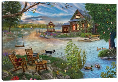 Coffee on the Lakeshore Canvas Art Print