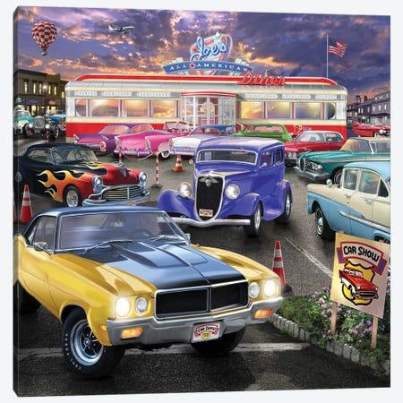 Diner Car Show Canvas Print #BII13} by Bigelow Illustrations Art Print