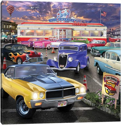 Diner Car Show Canvas Art Print