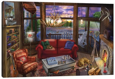Evening In The Cabin Canvas Art Print