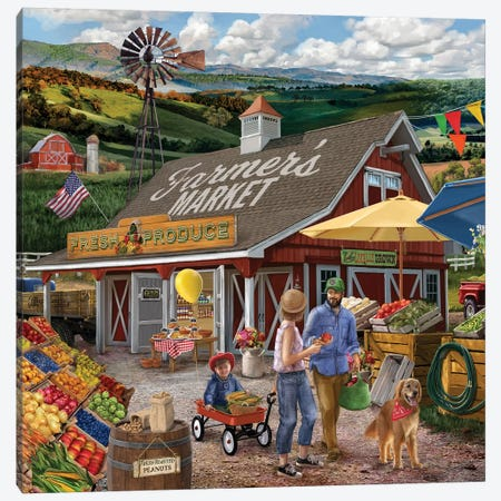 Farmers Market Canvas Print #BII19} by Bigelow Illustrations Art Print