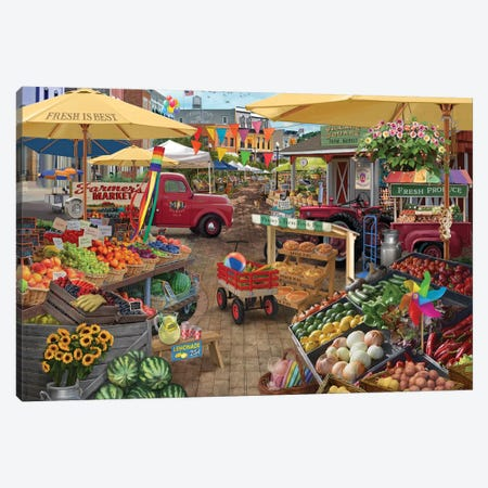 Farmers Market Day Canvas Print #BII20} by Bigelow Illustrations Canvas Wall Art