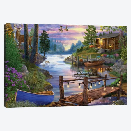 Footbridge by the Lake Canvas Print #BII23} by Bigelow Illustrations Canvas Wall Art