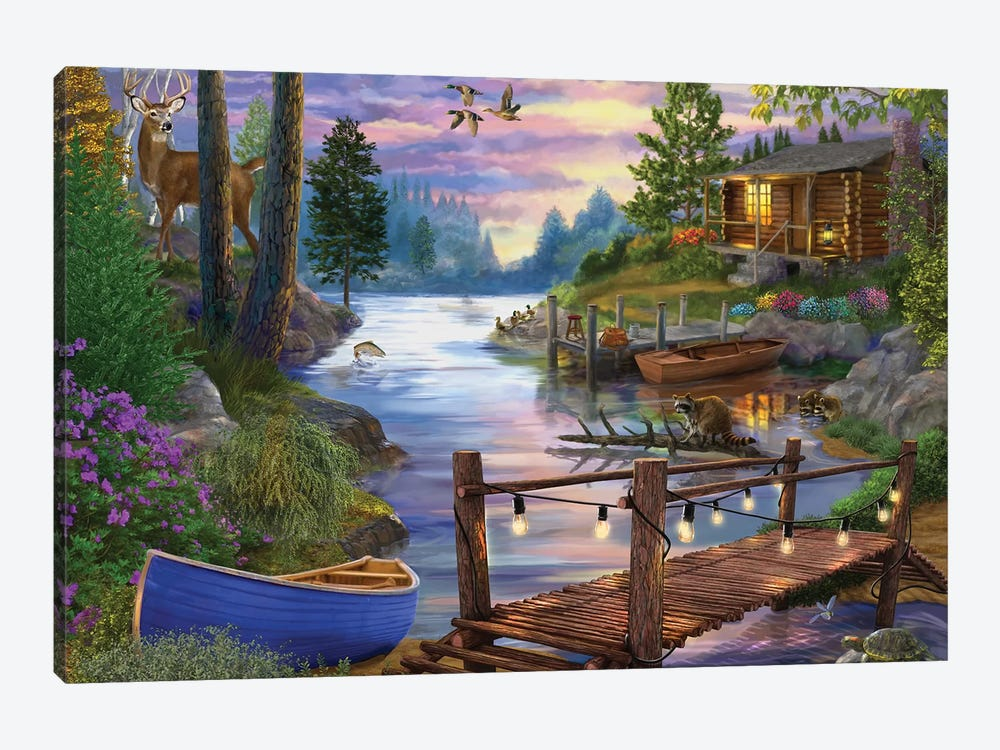 Footbridge by the Lake 1-piece Canvas Wall Art